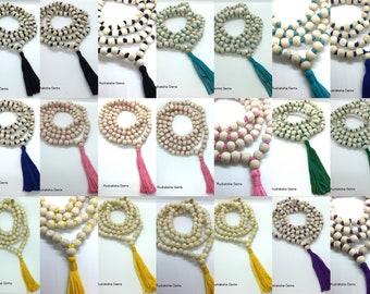 Natural white Tulsi mala Handmade Tulsi Holy Basil mala 108 Beads yoga Meditation Hindu Mala Long Beautiful Tassel Seven Colours Available