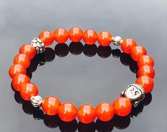 Carnelian Natural Buddha bracelet- crystal   Gem stone power bracelet - sacral chakra bracelet - unisex bracelet -genuine high quality beads