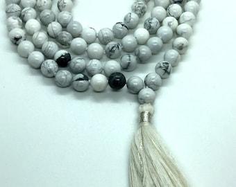 Premium, Howlite Mala Necklace, 108 Mala Beads, White Mala Necklace, Howlite Necklace, Knotted Mala, Howlite Jewelry Necklace Summer Jewelry
