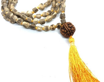 Holy basil (Tulsi) Hand Knotted Japa Mala 108 beads mala purified & blessed - Tusli Japa Mala Yoga Meditation- Rudraksha Guru bead necklace