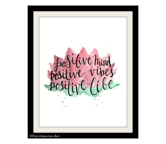Lotus Flower Art Quote Print Positive Quotes Artwork - Positive Vibes  Watercolor Quote Art Positive Wall Art Pink and Green Flower Wall Art