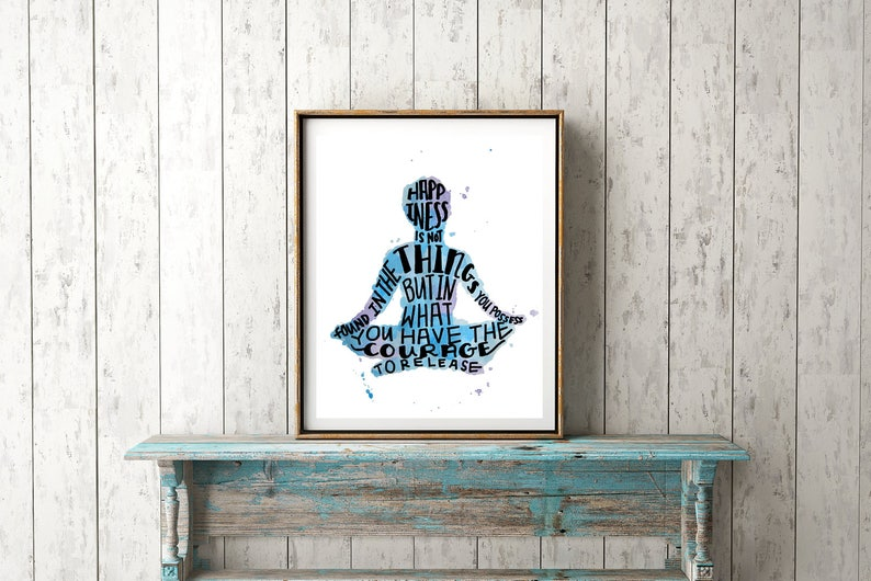 Happiness Quote Print Meditation Art  Inspirational Quote image 0