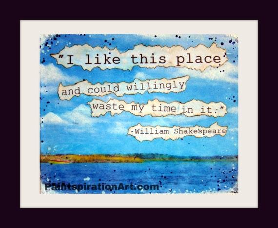 Mixed Media Art Shakespeare Quotes - Fishing Decor Canvas Wall Art  Inspiring Quotes - Beach Decor Lake Decor Boating Gifts Lake House Decor