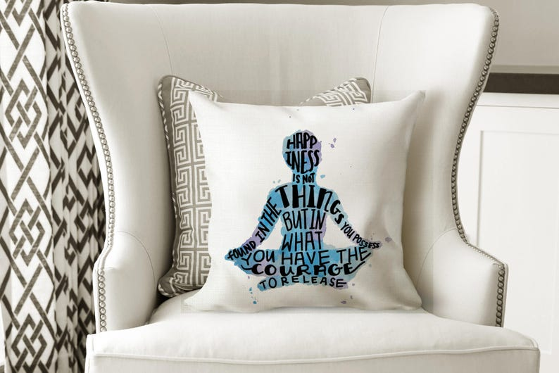 Meditation Pillow Decorative Pillows with Words Blue and image 0