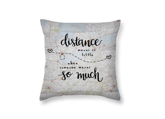 Long Distance Gift Love Quotes Decorative Throw Pillows Long Etsy Classy Decorative Pillows With Quotes