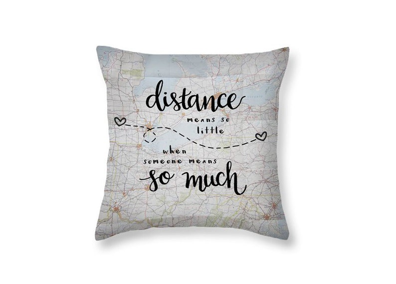 Long Distance Gift Love Quotes Decorative Throw Pillows Long Etsy
