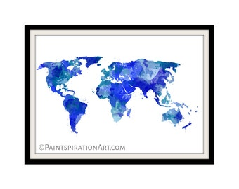 Watercolor world map etsy popular items for watercolor world map gumiabroncs Image collections