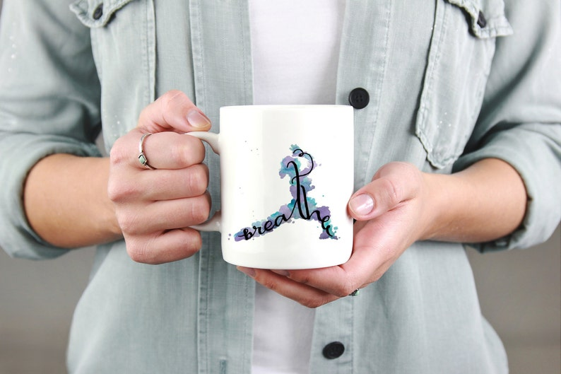 Breathe Yoga Gifts Coffee Cup Art Yoga Coffee Mug  Yoga image 1