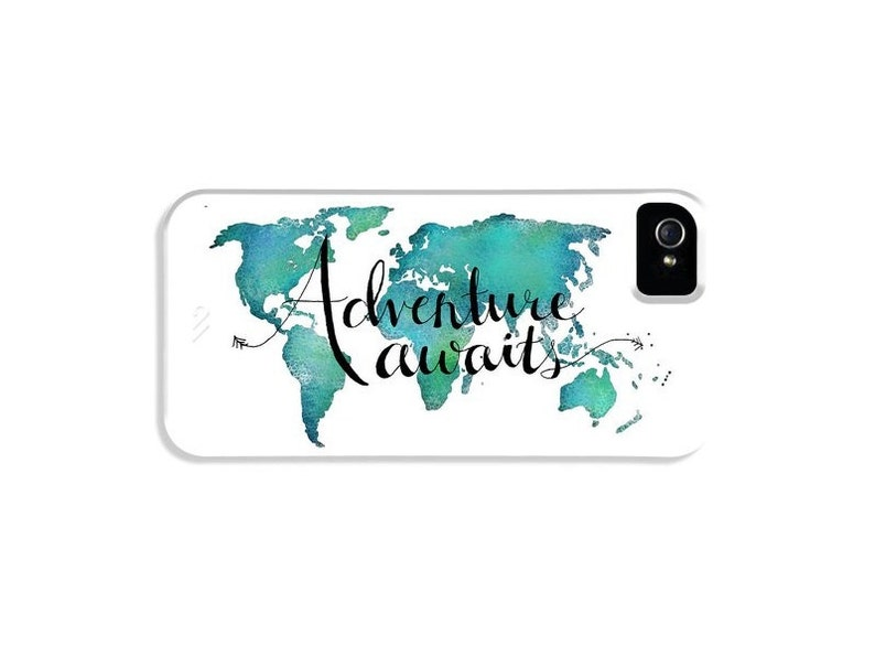 iPhone Case Quotes World Map Case  Travel Art Phone Case Map image 0
