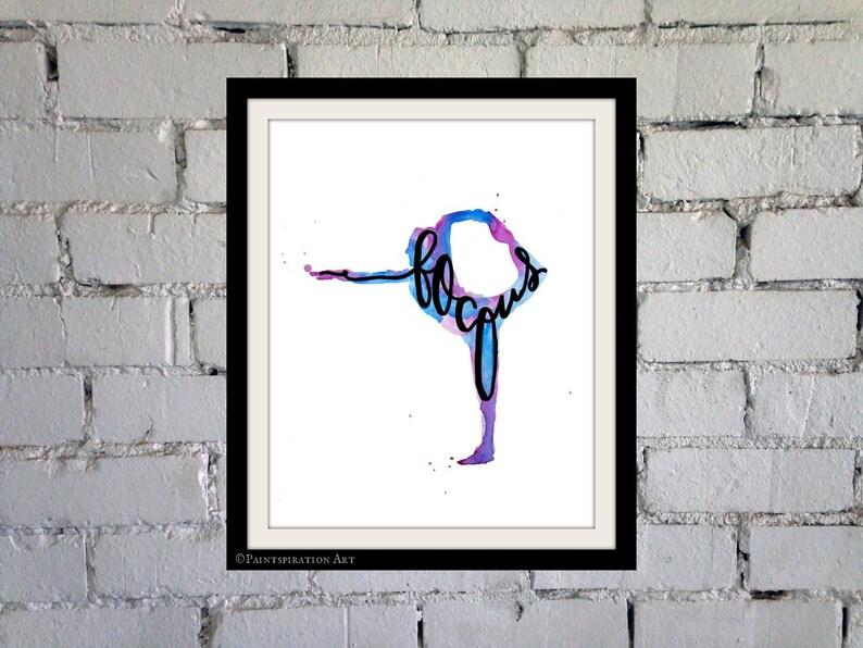 Yoga Art Focus Yoga Studio Decor  Watercolor Painting Print image 0