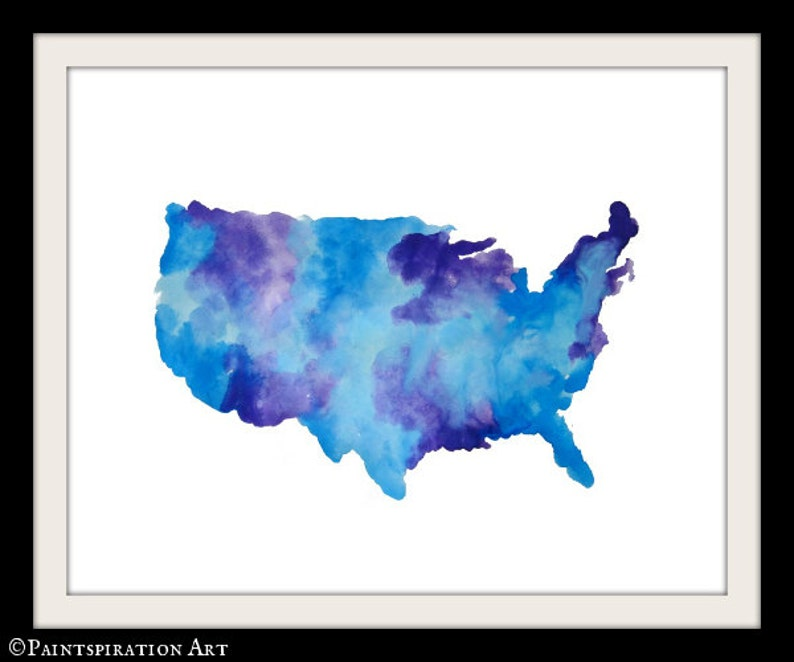 Purple America Map.Usa Map Art Watercolor Map Print America Map Blue And Purple Etsy
