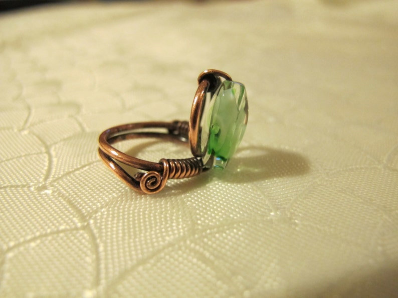 Handmade Ring set with a Green Glass Bead Spiral wiring. Green Ring Copper Wire Wrapped Ring Unique Design