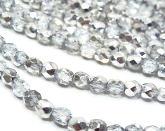 4MM Fire Polished Czech Glass Beads, Crystal Labrador Czech Shield Rainbow- Aurora Borealis,  Glass Bead Strand of 40 beads