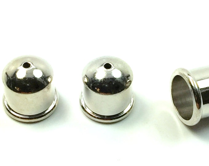 6mm END CAP, Cord end, TierraCast® SILVER Cupola