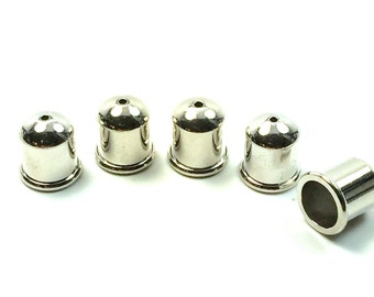8mm TierraCast® Pewter Silver Plated Cupola Cord End  1 Pair