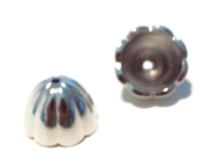 End Cap Scalloped 10mm Rhodium (Silver) 14X9.5mm  1 Pair