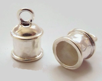 END CAP, 5.8mm ID, 2.2mm Ring, Silver Plate,  Priced per Pair