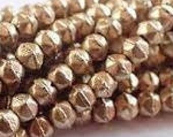3mm English Cut, Matte Metallic Flax, Gold , Beads Faceted Beads, 50 beads.
