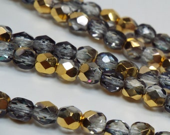 4MM Fire Polished Czech Glass Beads, Crystal Arum , Gold and Graphite Strand of 40 beads