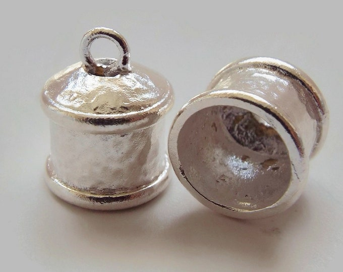 END CAP, 9mm ID, 2.2mm Ring, Silver Plate,  Priced per Pair