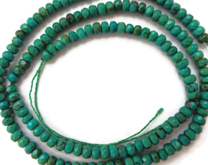 "Faceted Dark Green Turquoise Rondelle 2x4mm. 15"" Strand"