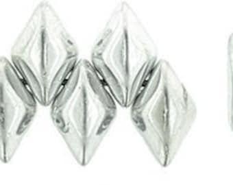 GEMDUO, 2 Hole Beads, METALLIC SILVER-379,85,2700, 2 Hole Bead, 8X5MM,  10 grams