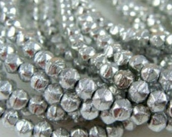 100  English Cut 3mm Beads Faceted Beads Full Labrador Etched Silver