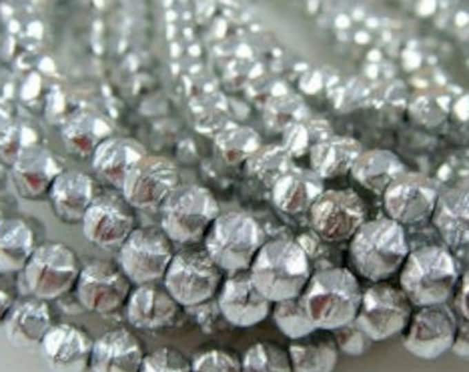 3mm English Cut, Full Labrador Etched,  Silver, Beads Faceted Beads, 100 pcs.