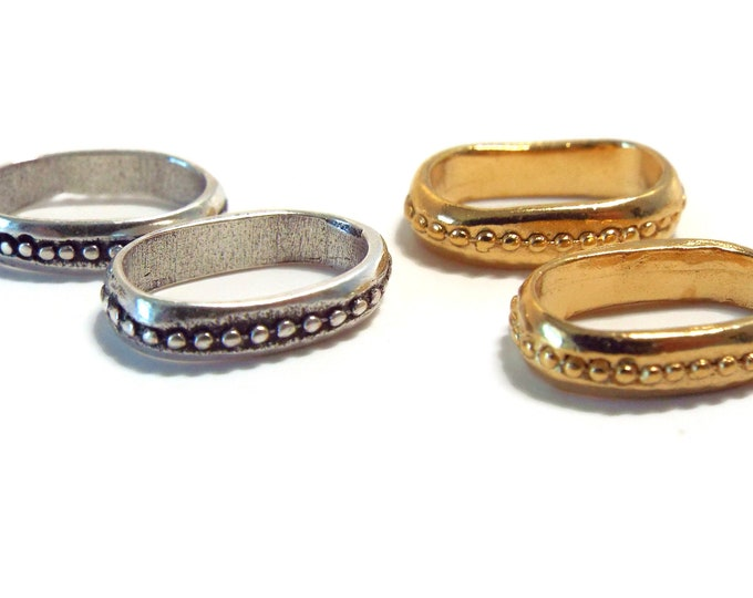 Slider Spacers with Raised Dots, Gold or Antique Silver 10x7mm