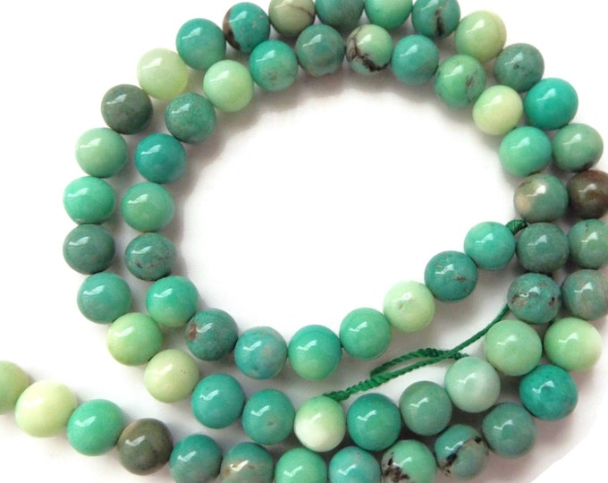 Chrysoprase, Natural, Polished Smooth Round Beads, 6mm, 8mm  High Quality AAA