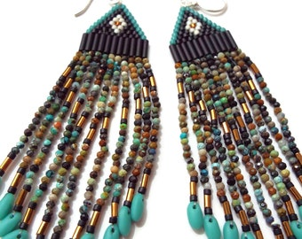 Beaded Fringe Earrings, Micro Faceted Turquoise Beads, Southwest Style, Native American, Long Dangles, Boho, Hippy