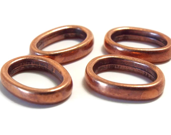 SLIDER SPACER BEAD Simple Oval Antique Copper for Love Knot Jewelry  Set of 4