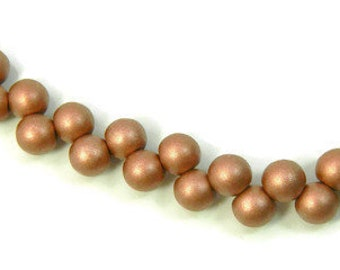6mm Mushroom, TOP DRILLED 6mm Round Czech Beads,  Metallic Clay, Strand of 25