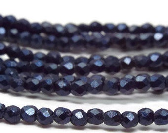 2MM Fire Polished Czech Glass Beads,  Metallic Suede Dark Blue,  Strand of 50