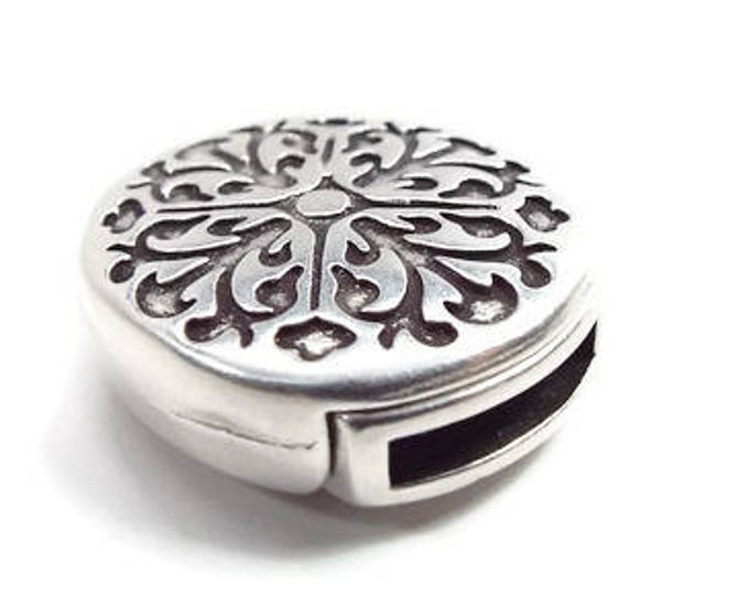 MAGNETIC CLASP Flat 10mm Decorative Baroque Pattern in Antique Silver