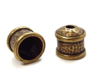 END CAP, 9mm with Textured Finish Antique Brass Priced per Pair