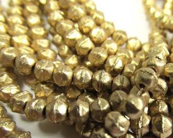 100  English Cut 3mm Beads Faceted Beads Full Amber Etched Gold