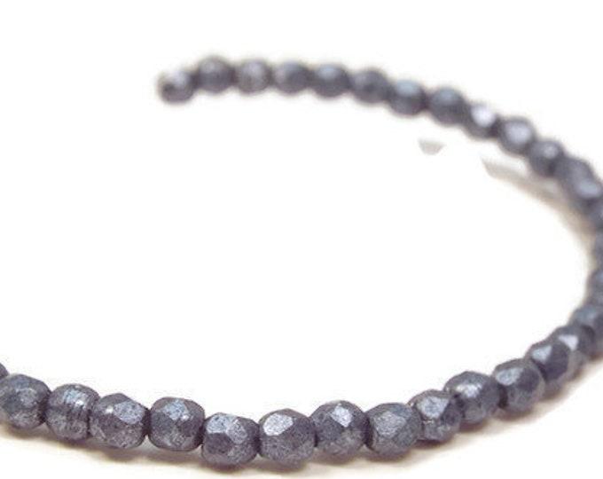 2MM Fire Polished Beads, ,Czech Glass, Metallic NIAGRA  Strand of 50