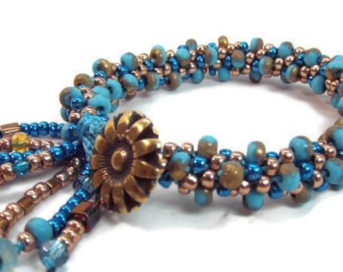 COMPLETE KIT Kumihimo Bracelet TURQUOISE Jangle Dangle Bangle
