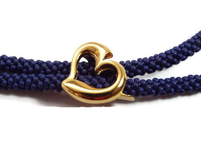 Floating Heart Slider Spacer Bead Bright Gold for Love Knot, Leather Jewelry  Set of 2