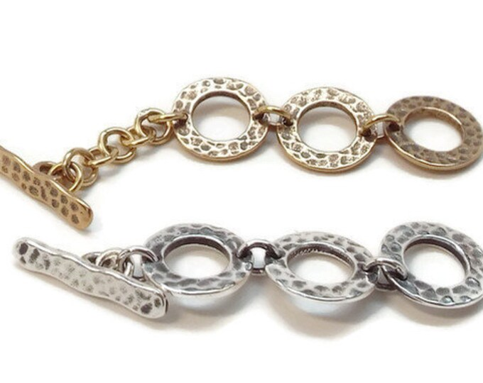 TOGGLE CLASP, Adjustable, Hammered Finish,  Choice of Silver, Copper, Bronze
