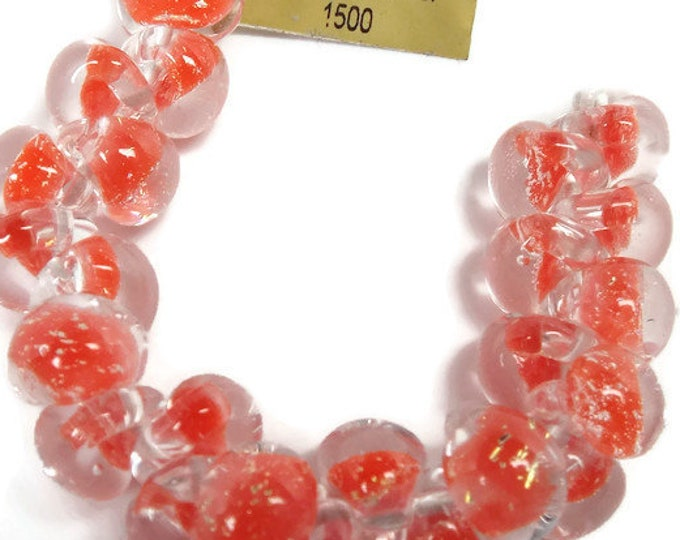 Teardrops Unicorn  Bright Coral Glitter #22058,  25 Beads