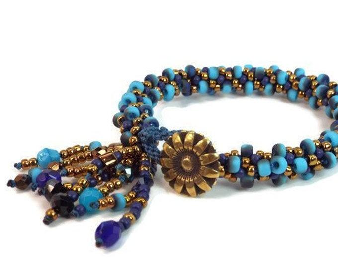 Kumihimo Bracelet COMPLETE KIT Etched Blue Jangle Dangle Bangle