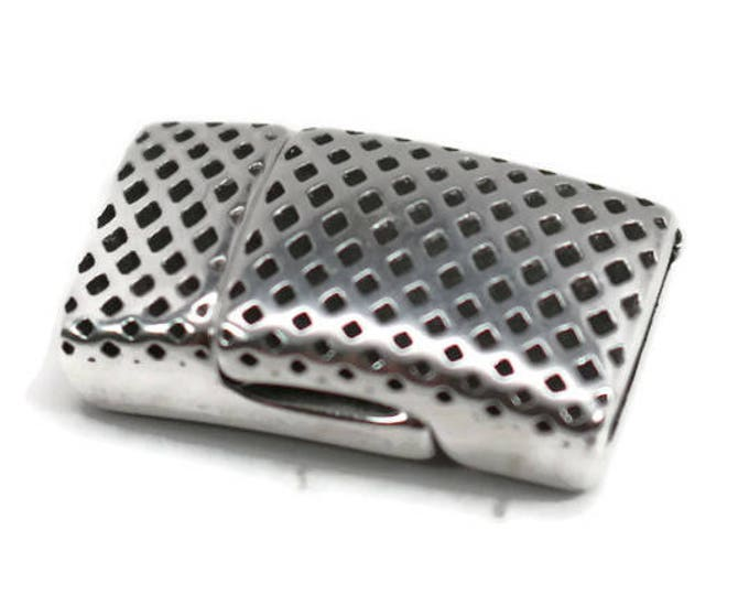 MAGNETIC CLASP Flat Dotted Texture  Antique Silver 10x2mm