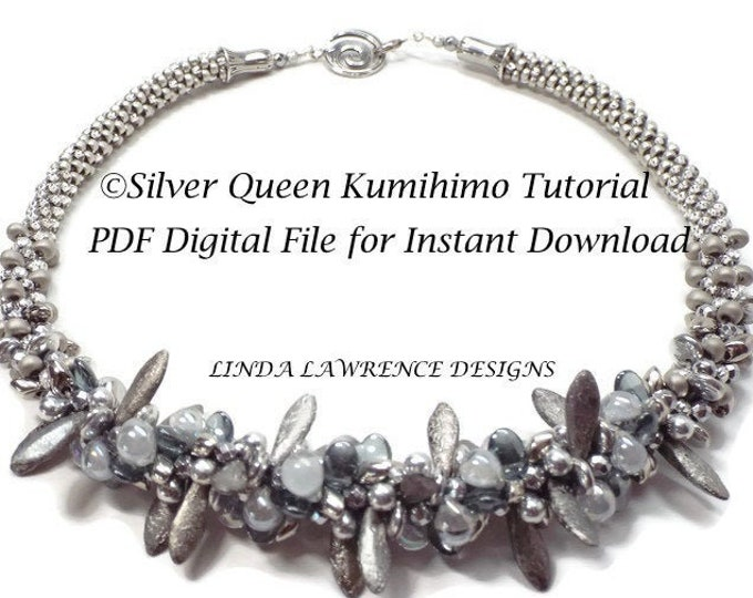 TUTORIAL Kumihimo NECKLACE PATTERN. Silver Queen