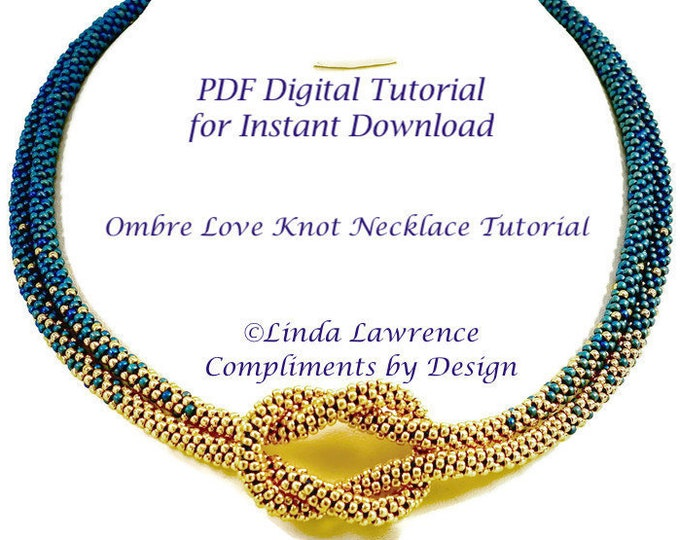 PATTERN KUMIHIMO NECKLACE Ombre Love Knot   Pdf Digital File