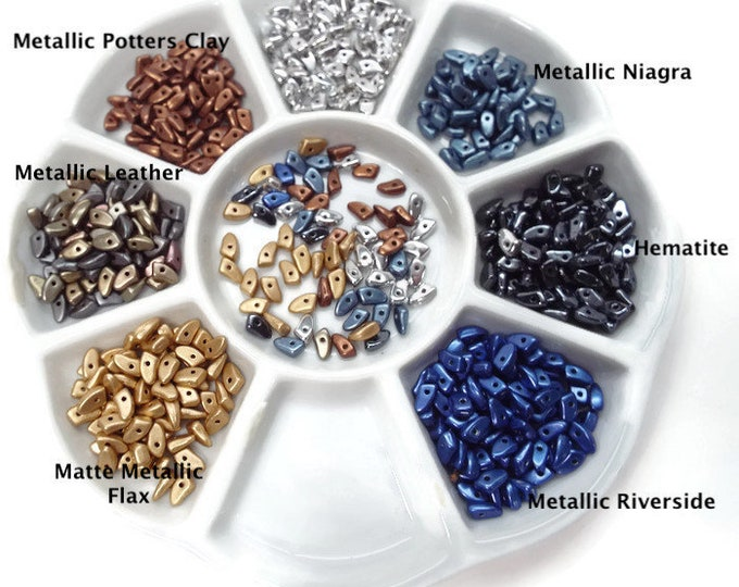PRONG BEADS, NEW  3x6mm Czech beads- 5 grams. Choose Colors