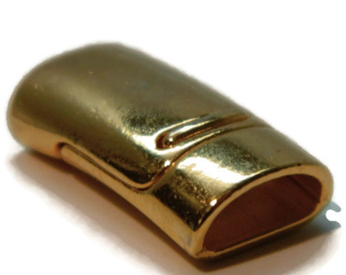 MAGNETIC CLASP Bright Gold Mini Regaliz Leather Kumihimo  Oval 10x5