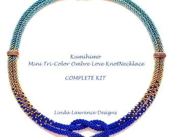 COMPLETE KIT Kumihimo Tri-Color Ombre Love Knot Necklace