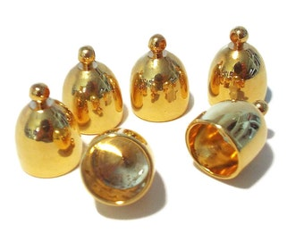 End Cap Bullet Shaped Gold tone, 8mm Inside Diameter 1 Pair